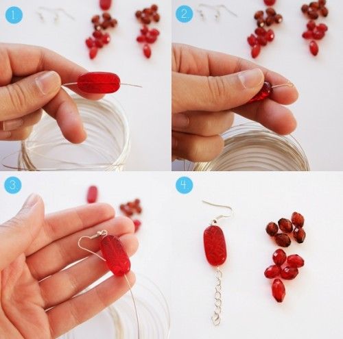 DIY Red Waterfall Earrings To Look Bright