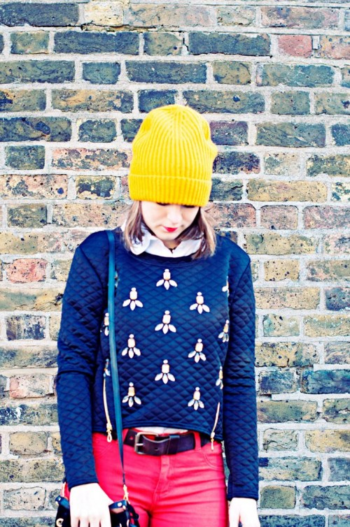 DIY Rhinestone Embellished Sweatshirt