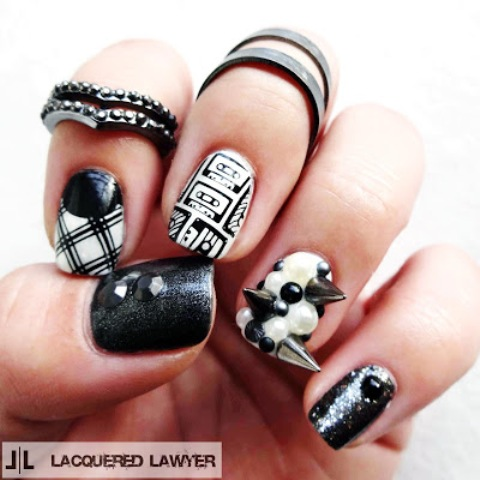 DIY Rock Maniac Nail Art In Black And White
