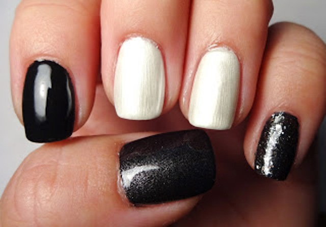 Picture Of Diy Rock Maniac Nail Art In Black And White 2