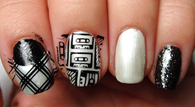 Picture Of diy rock maniac nail art in black and white  3