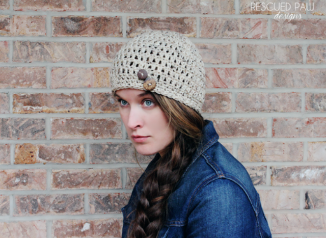 Picture Of diy simple crochet oatmeal button hat  1