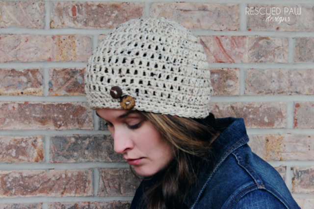 Picture Of diy simple crochet oatmeal button hat  4