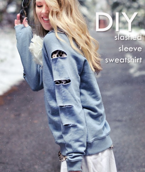 DIY Slashed Sleeved Sweatshirt