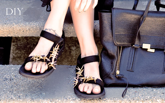 Picture Of diy spiky embellished sport sandals  1