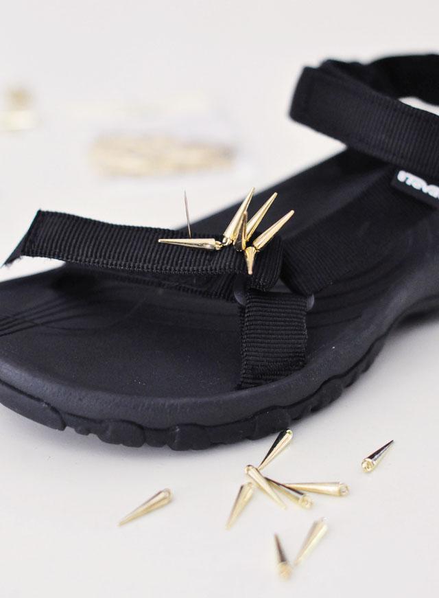 Picture Of diy spiky embellished sport sandals  2