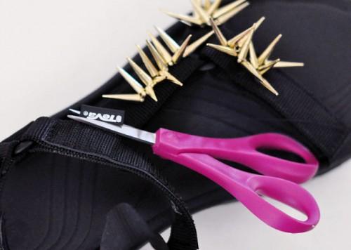 DIY Spiky Embellished Sport Sandals