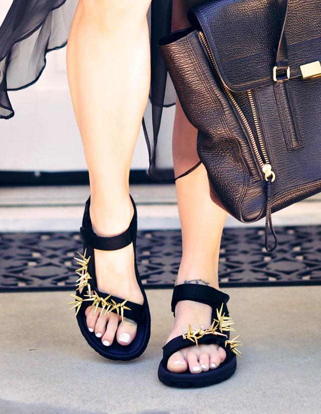 Picture Of diy spiky embellished sport sandals  7