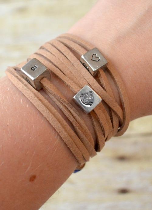 DIY Stamped Cubes Wrap Bracelet