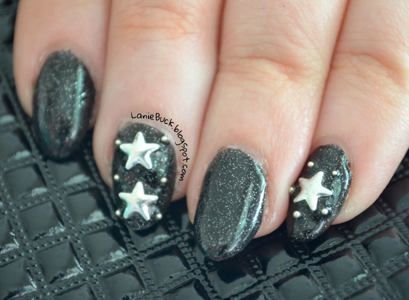 Picture Of diy starry night sky nail art with studs  2