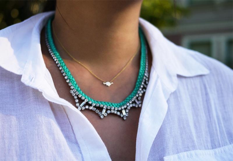 braided rhinestone necklace