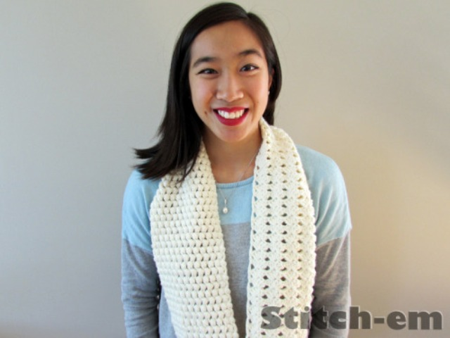 Picture Of diy two textured crochet scarf to make  2