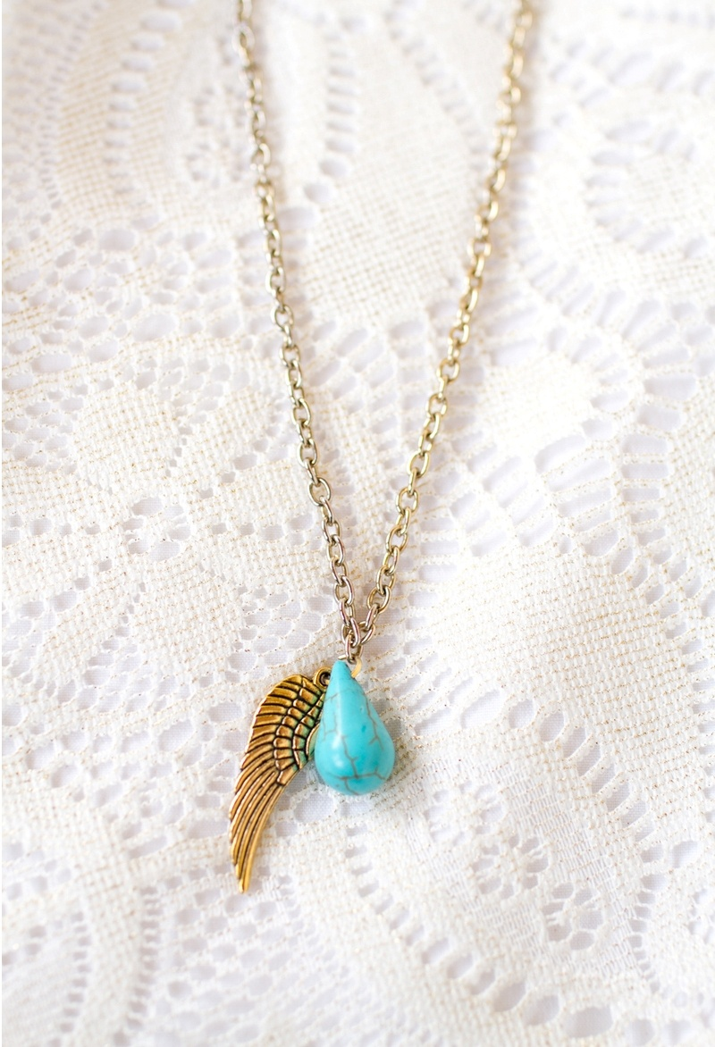 Picture Of diy upcycled angel wing charm necklace  3