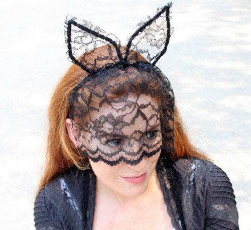 DIY Veiled Cat Ear Headband For Halloween