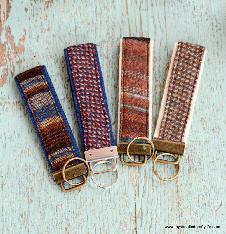 Picture Of diy vintage fabric and webbing key chain  10