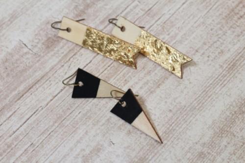 DIY Wood Veneer Earrings With Scrapbook