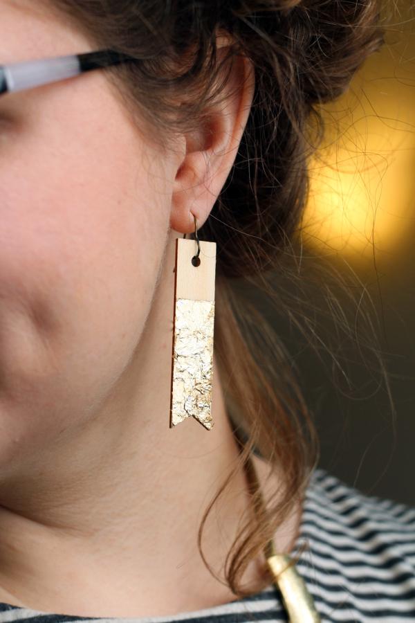 Picture Of diy wood veneer earrings with scrapbook  4