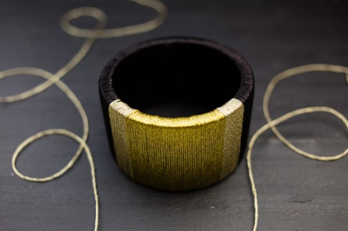 DIY Wrapped Metallic Thread Bracelet