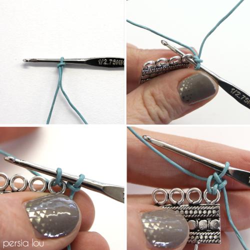 DIY Crochet Leather Tassel Bracelet