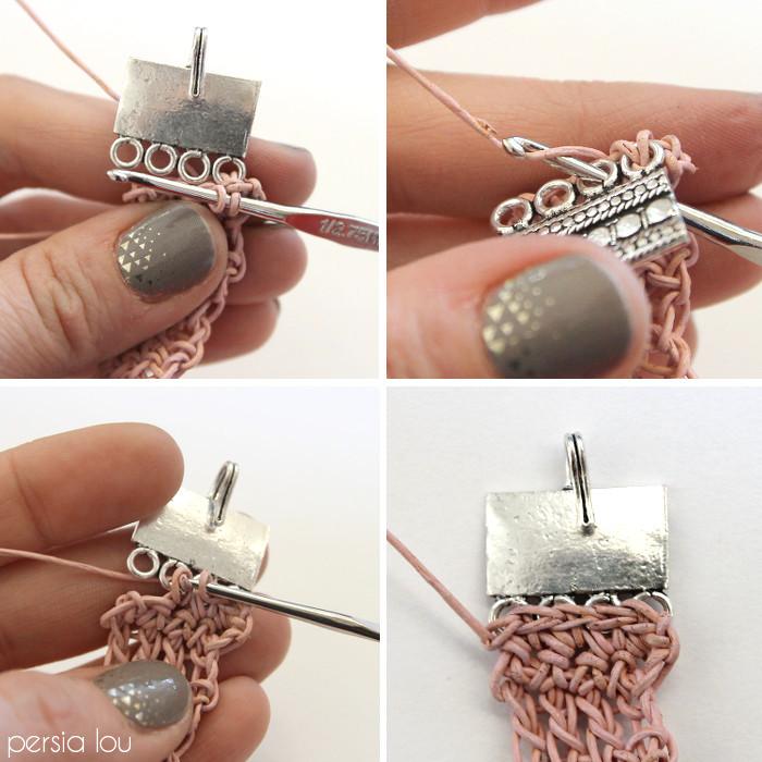 Picture Of dusty pink diy crochet leather bracelet  7