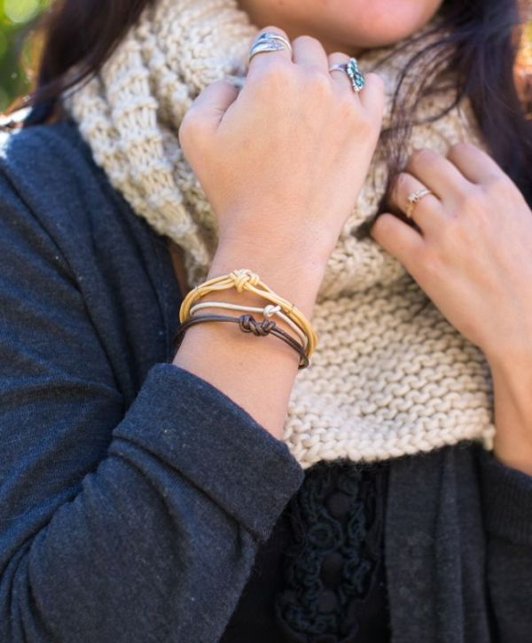 Picture Of easy and cool diy knotted leather bracelets  7