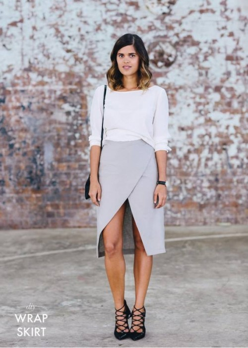 Easy And Stylish DIY Split Wrap Skirt