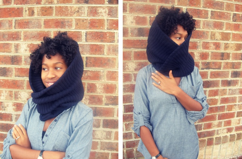 Picture Of easy diy cowl from a flipped sweater  3