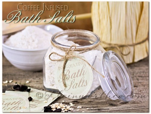coffee infused bath salts (via kleinworthco)