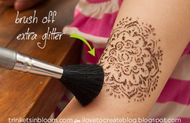 Picture Of easy diy glam glitter tattoo  4