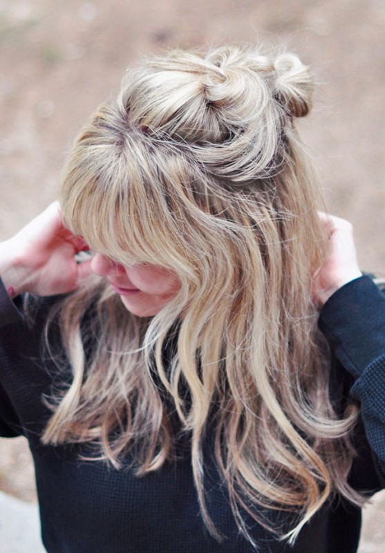 Picture Of easy diy half up double top knot  2