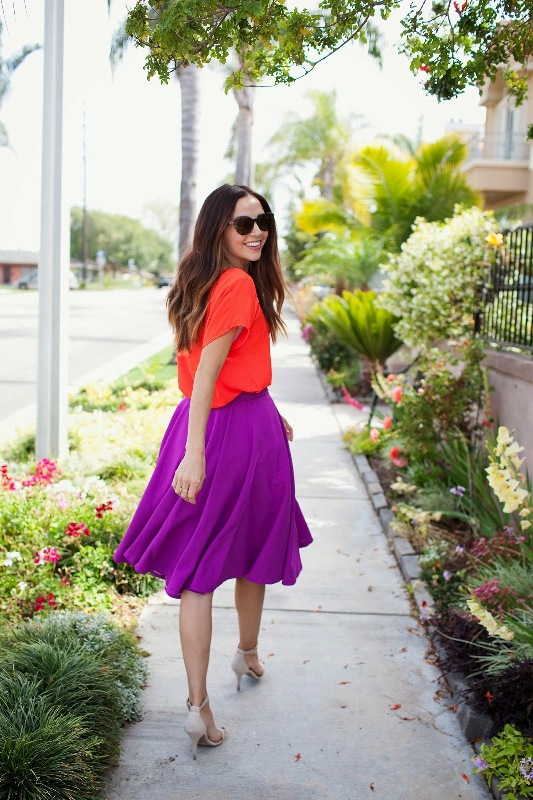 Picture Of easy diy radiant orchid circle skirt  4