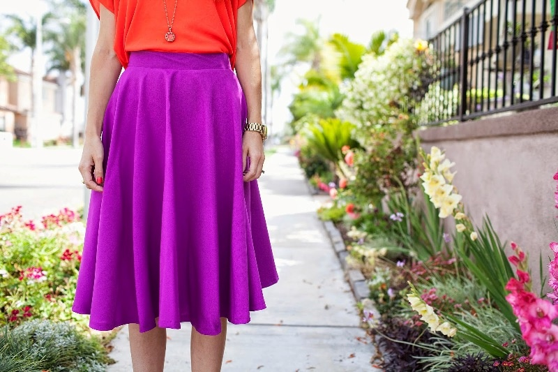 Picture Of easy diy radiant orchid circle skirt  5