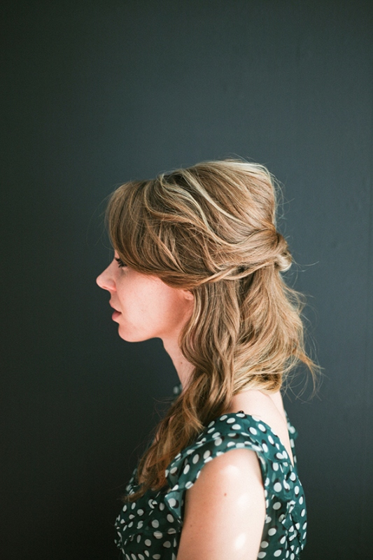 Picture Of easy diy topsy half up hairstyle for valentines day dinner  2