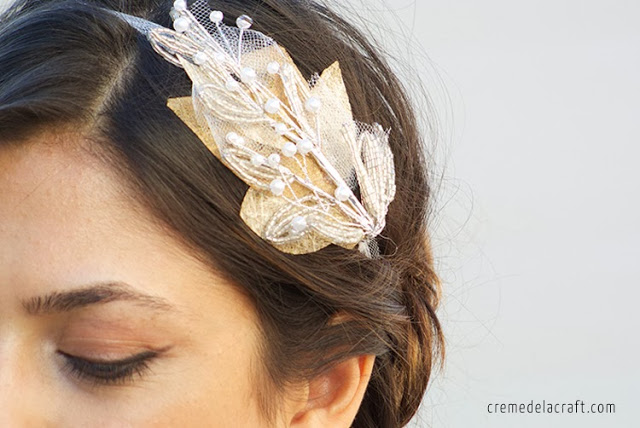 Picture Of easy to make beaded bridal headband  2