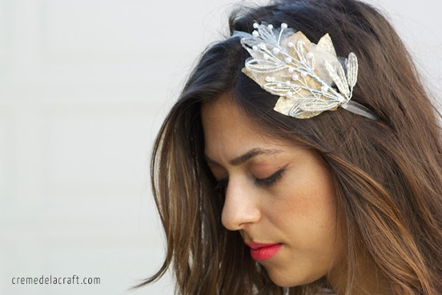 Picture Of easy to make beaded bridal headband  3