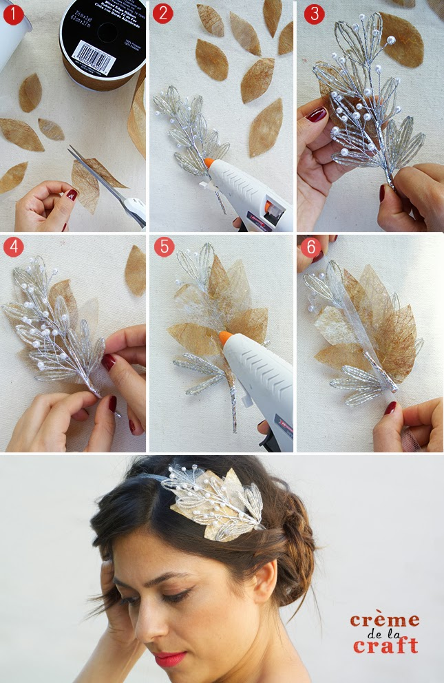 Picture Of easy to make beaded bridal headband  5