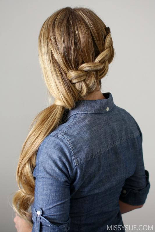 Picture Of elegant diy side swept dutch braid ponytail  1