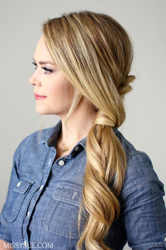 Picture Of elegant diy side swept dutch braid ponytail  4