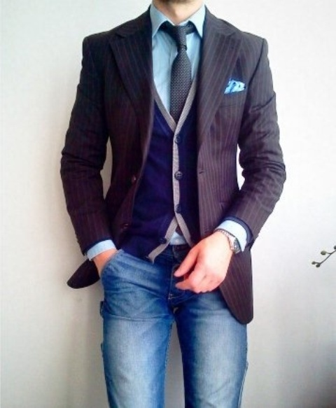Picture Of elegant striped men outfits for work  9