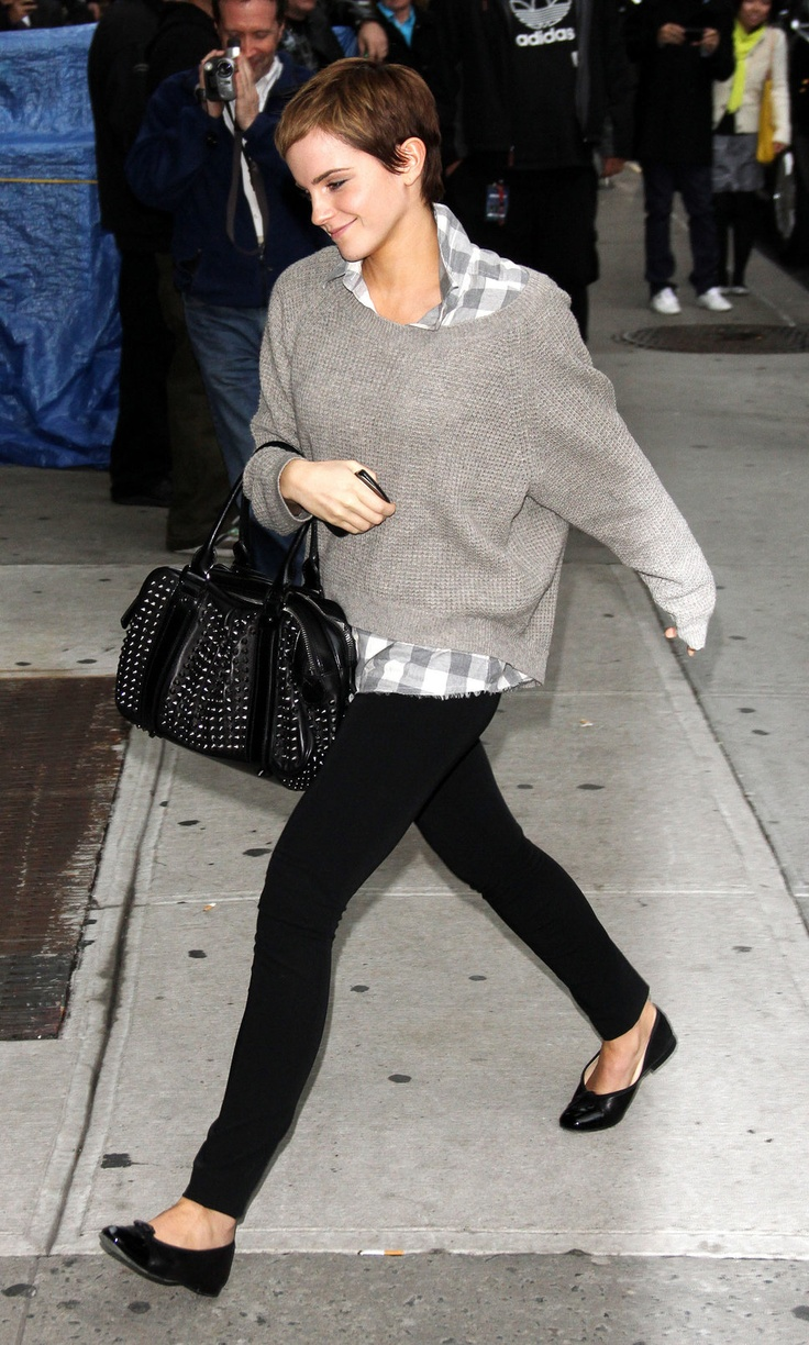 a grey plaid shirt, a grey sweater, black skinnies and an embellished tote for an everyday look in winter