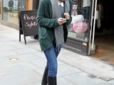 a grey top, blue skinnies, tall black boots, an emerald cardigan and a grey scarf for the fall