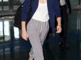 a white top, striped cropped pants, a navy blazer, comfy platform sandals and a black bag