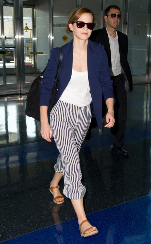 a white top, striped cropped pants, a navy blazer, comfy platform sandals and a black bag