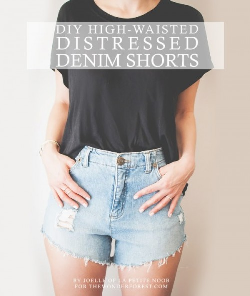 Fashionable DIY High-Waist Distressed Denim Shorts