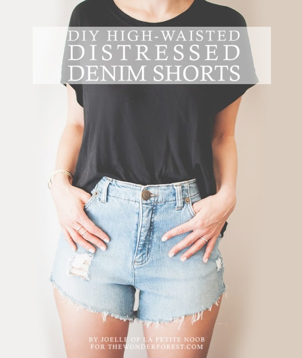 Picture Of fashionable diy high waist distressed denim shorts  1