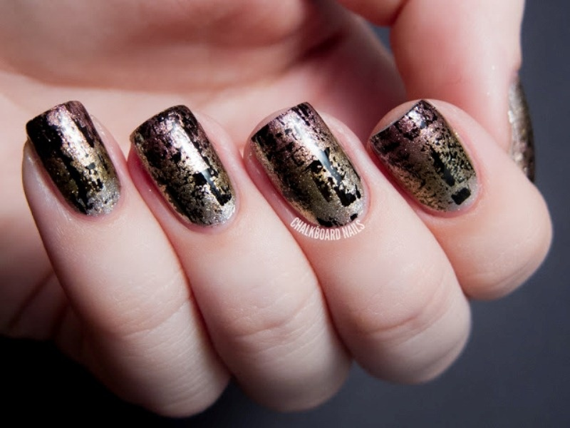 Picture Of fashionable diy metallic distressed manicure to try  2
