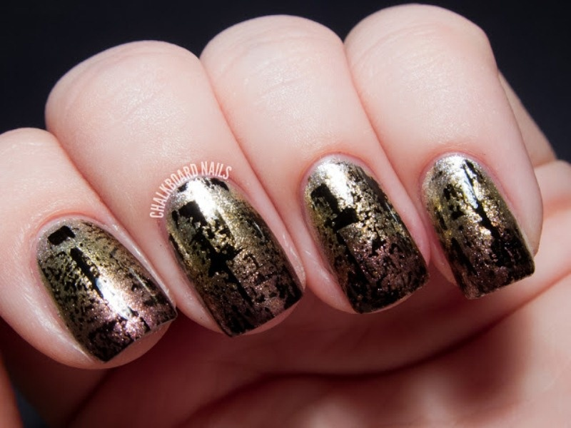 Picture Of fashionable diy metallic distressed manicure to try  3