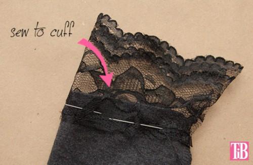 Feminine DIY T Shirt With Lace Cuffs