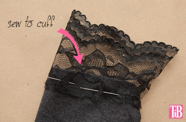 Picture Of feminine diy t shirt with lace cuffs  3