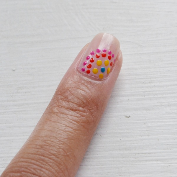 Picture Of festive and fun diy dotted nail design  3